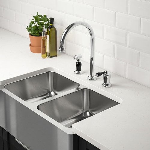 Bredsjon Apron Front Double Bowl Sink Under Glued Stainless