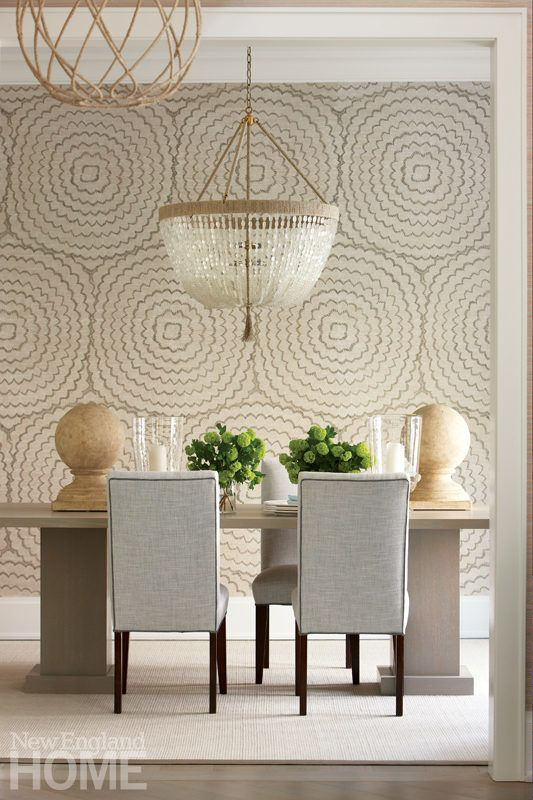 Celerie Kemble For Schumacher Feather Bloom Dove Wallcovering Priced By The Yard Sold In 8 Yard Increments Minimum Order Is 8 Yards Dining Room Wallpaper Dining Room Design Chic Dining Room