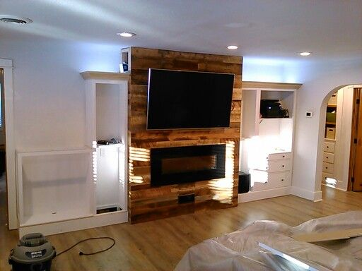 240v Electric Fireplace, recessed power & cables for wall mount TV ...