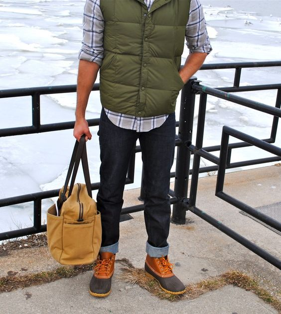 Grey and blue plaid button down, green vest, dark wash jeans, and duck boots. Wonderful fall/winter outfit.