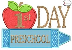 First Day Preschool Applique - 2 Sizes! | What's New | Machine Embroidery Designs | SWAKembroidery.com Embroidalot