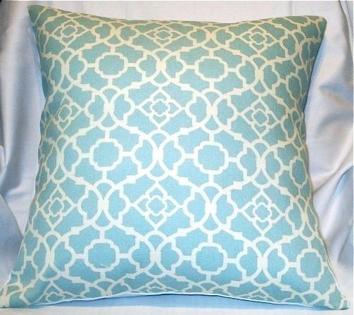 Etsy: 18x18 Waverly blue lattice indoor/outdoor fabric pillow cover with envelope-style back, $15  {good price!}