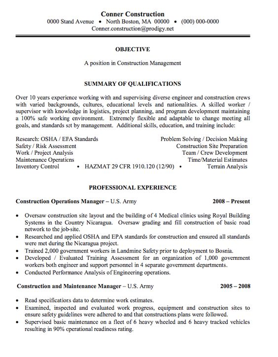 construction management sample resume -    exampleresumecvorg - sample resume for management position