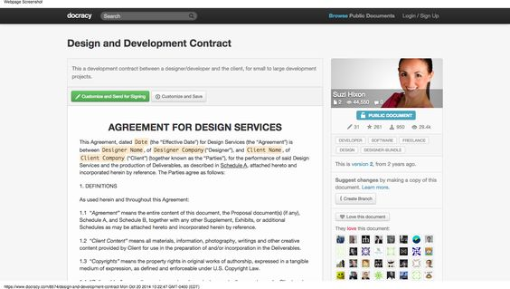 Example Design \ Development Contract Docracy Freelance - website development agreement