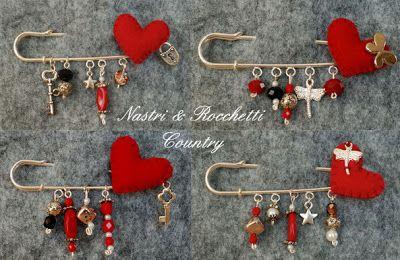 Nastri & Rocchetti Country: Spille e Mollette.....del Cuore! Pins and Clips.....of Heart ....