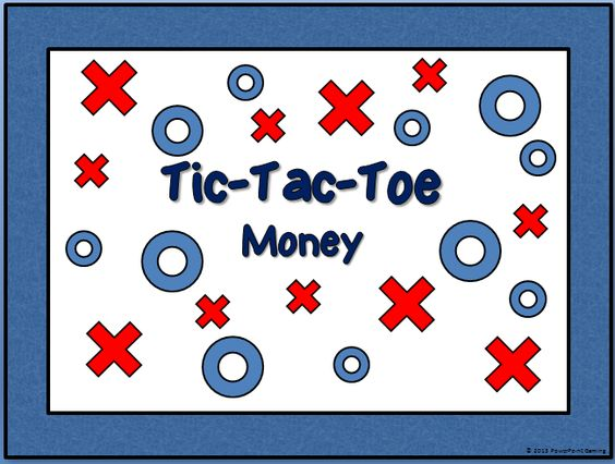 Here is a Money Tic-Tac-Toe game for PowerPoint. It is pretty straight forward. Click on your X or O for the box you want. Click new game to start over. No need to move anything!   Comes with 3 games:   Game 1 - pennies, nickels, dimes  Game 2 - quarters, half-dollar, dollar coin  Game 3 - dollar bills   Good to use as a study game!   Don't forget to leave a vote!    Follow me on TpT, Pinterest, and Facebook!   Happy Teachings!