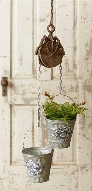 New Primitive Antique Style Rustic Round PULLEY HOOK BUCKET Pail Plant Hanger #Primitive