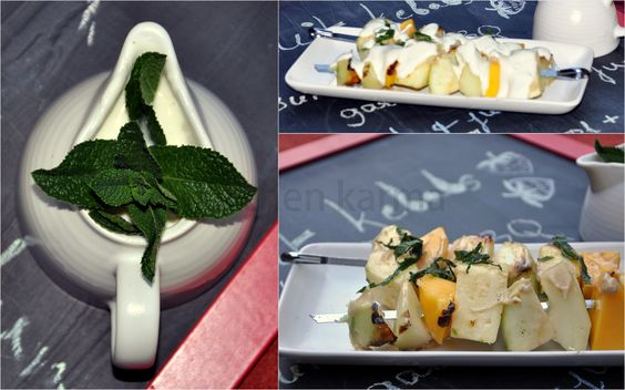 Fruit kebab served with mint sauce