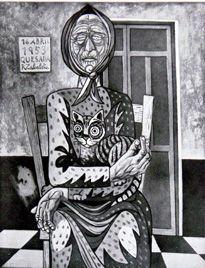 Vieja con gato.