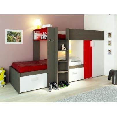 Lits superpos s julien 2x90x190cm armoire int gr e taupe et rouge tau - Armoire rouge enfant ...