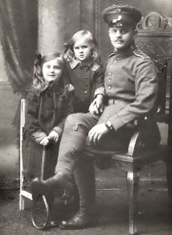 Eva Braun as a child with her father Fritz and older ...