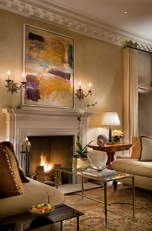 cozy room with fireplace and warm colors: