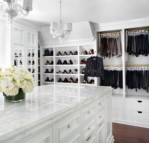 Jelena Design Studio Luxury Elegant And Beautiful White Walk In Closet With Marble Center Drawers Best Top Famous Luxurious Luxury Closet Closet Island Home