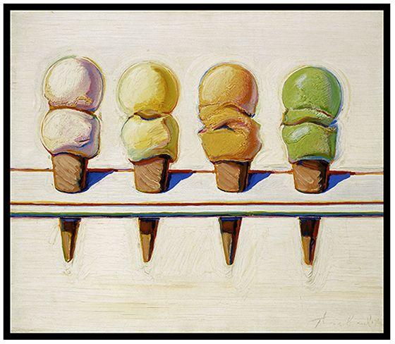 Wayne Thiebaud Framed Art Print Four Ice Cream Cones