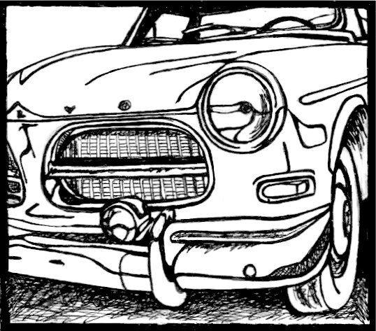 B&W Classic Car Drawing / Volvo Sport / Art Print / Wall