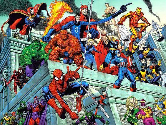 マーベルヒーローがビルから戦闘している画像