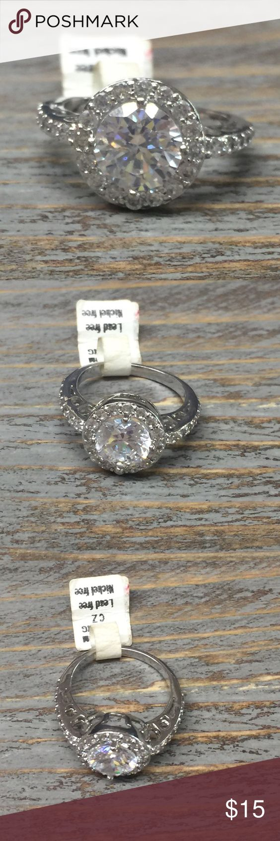 Ring Rhodium Plating. CZ. Lead free. Nickel free. New with tags Jewelry Rings