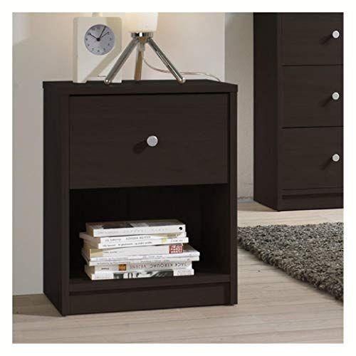 Modern 1 Drawer Bedroom Nightstand In Dark Brown Wood Fin Ish