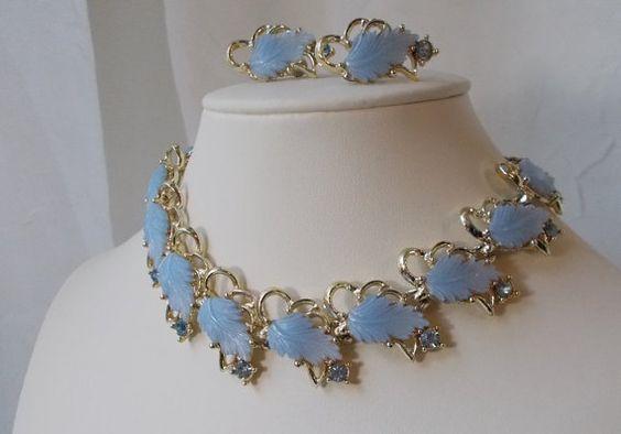 Classic Vintage Midcentury Thermoset Blue Leaf  Same as mum's brooch