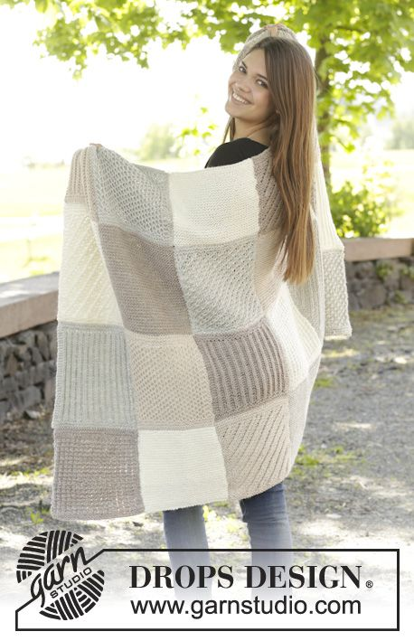 """Knitted DROPS blanket with squares in garter st, star pattern, English rib, stripes, waffle pattern and bamboo pattern in """"Nepal"""" ~ DROPS Design"""