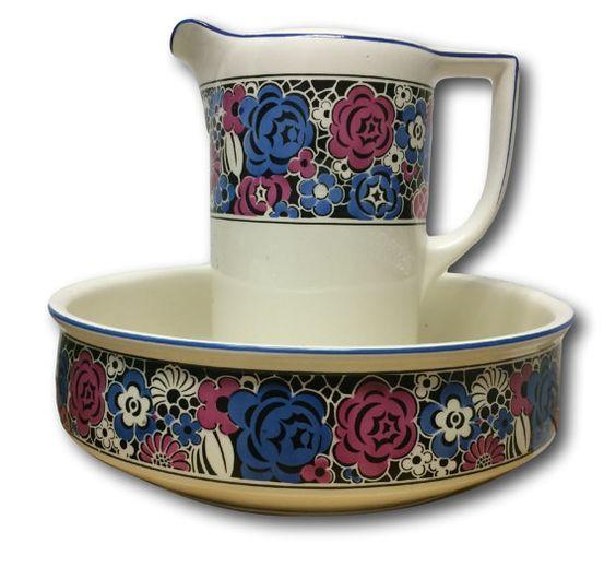 Large Air Brush Ceramic Pottery Pitcher & Bowl Art Deco Geometric