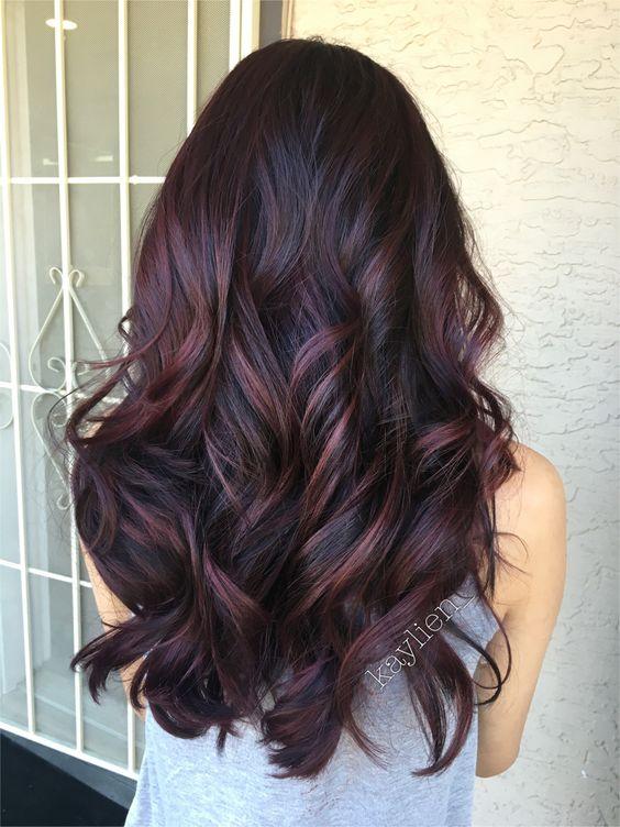 Plum hair! Deep violet base and mahogany violet toned balayage. Used all pravana.