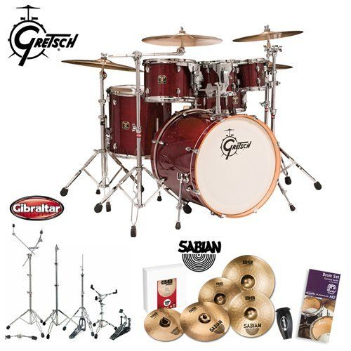 Gretsch New Catalina Maple Cherry Gloss (CMT-E825-CG) 5-Piece Euro Kit With Sabian B8 Pro Cymbal Set