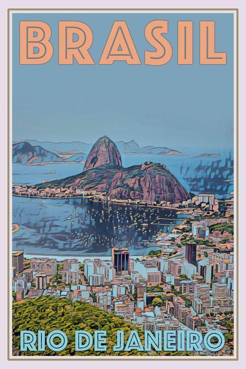 Vintage Poster Rio De Janeiro Brasil Affiche Retro In 2020 Retro Travel Poster Vintage Travel Posters Travel Posters