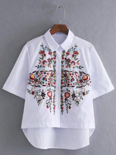 Blouses&Shirts | High Low Floral Embroidery Blouse #summer #fashion #white #embroidery #blouse