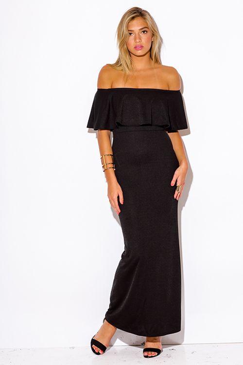Cute cheap black ruffle off shoulder evening party maxi dress ...