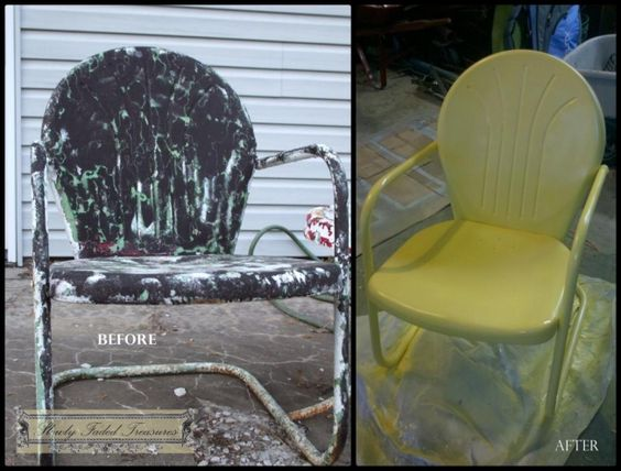 Vintage metal patio furniture redo. Painting Life Back into a Great Set of Vintage Metal Patio