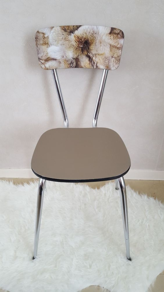 Chaise vintage formica relook e marron vintage - Customiser chaise formica ...