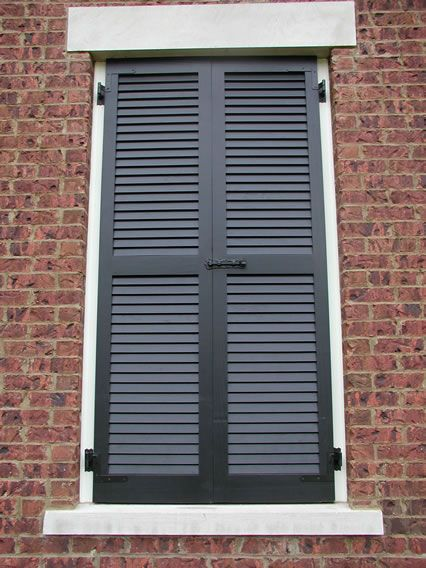 Louvered shutters shutters and window on pinterest for Exterior louvered window shutters