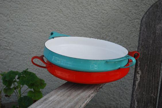 2 Vintage Dansk Kobenstyle Enamel Paella pans