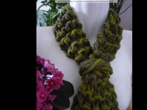 Cachecois em croche - gehäkelte Schals, crochet scarves.wmv