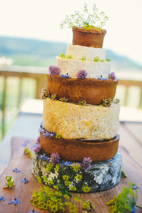 Rustic wedding: Super cheese and River Cottage pork pie wedding cake! Photo: Harrera Images #wedding food