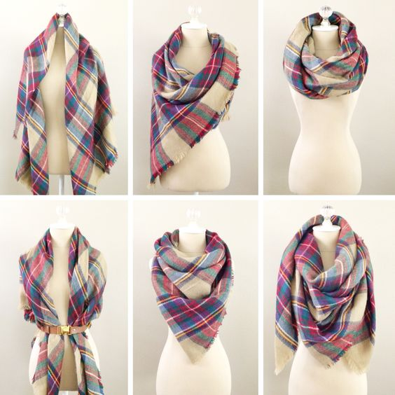 Six quick and simple ways to wear a plaid blanket scarf - StylishPetite.com