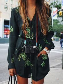 Dark Green Challis Long Sleeve Designers Floral Pockets Dress