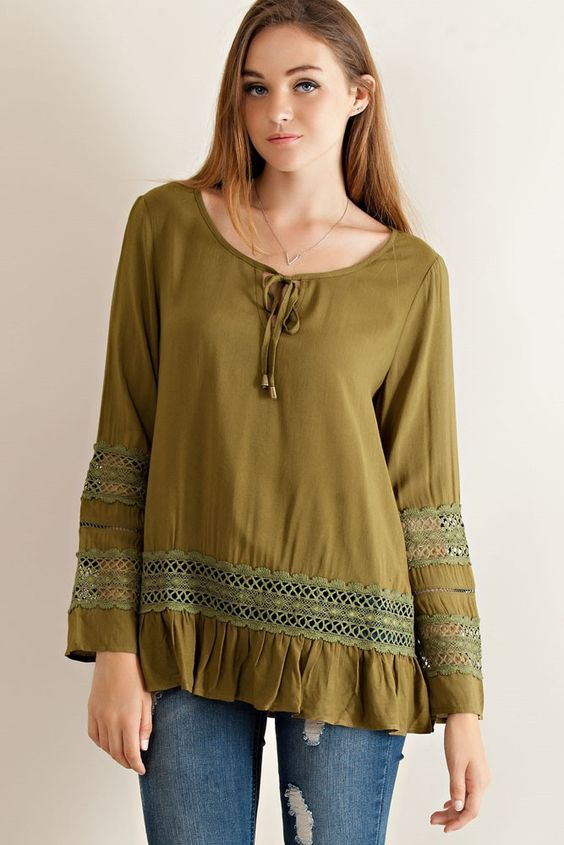 Solid rayon lace detailed blouse