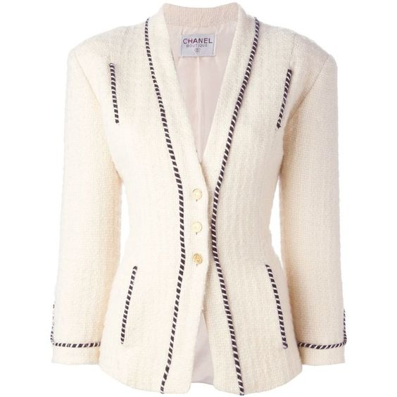 Chanel Vintage Striped Trim Jacket ($1,405) ❤ liked on Polyvore featuring outerwear, jackets, collarless jacket, cream jacket, long sleeve jacket, chanel jacket y chanel
