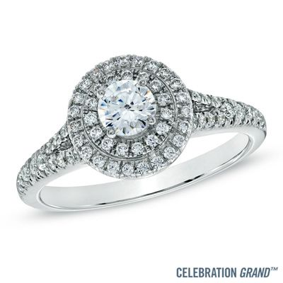 I've tagged a product on Zales: Celebration Grand® 3/4 CT. T.W. Diamond Frame Engagement Ring in 14K White Gold (H-I/I1)