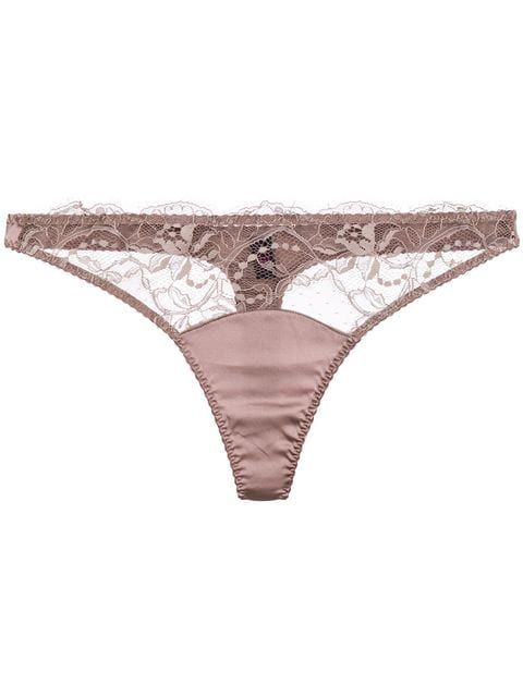 Brown Lace Sheer Floral Thong Panty G-String Tanga Lingerie Underwear O//S