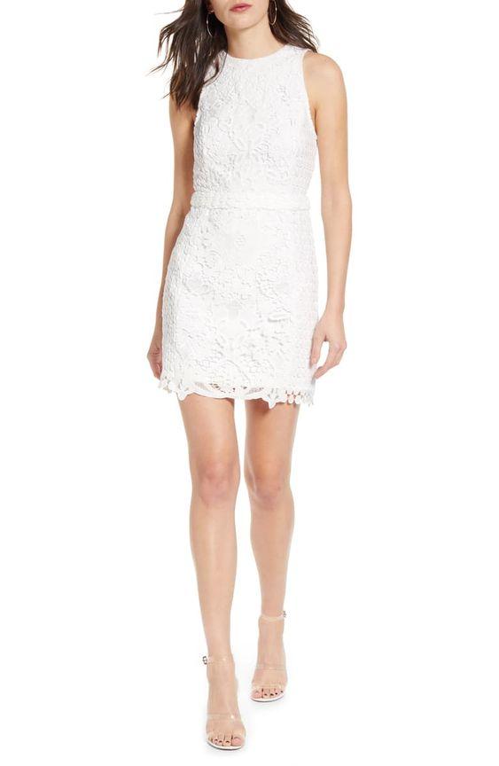 Rose Sleeveless Lace Sheath Dress -