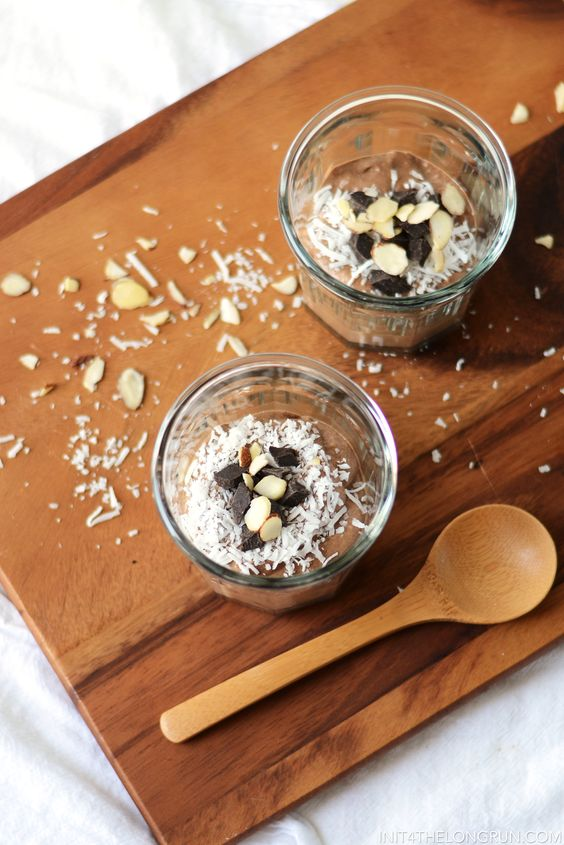 *Almond Chia Pudding 1½ Cups of Almond Milk (or coconut milk) 3 Tbsp of Chia Seeds 3 Tbsp of Shredded Coconut 2 Tbsp of Cocoa Powder 1 Tbsp of Almond Butter 1 Tbsp of Maple Syrup ¼ tsp of Almond Extract Topping: Pinch of coconut Handful of dark chocolate chips INSTRUCTIONS In a blender (or nutribullet) blend almond milk, chia, coconut, cocoa powder, maple syrup and almond extract. Let chill in the fridge for at least an hour to allow to set. Sprinkle with coconut
