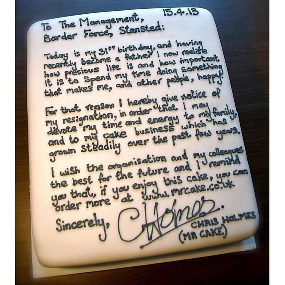 Best resignation letter ever Makes Me Laugh Pinterest - resignation letter cake