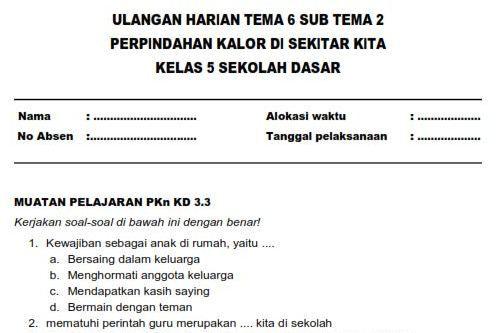 Kunci Jawaban Tematik Kelas 5 Tema 6 Subtema 2