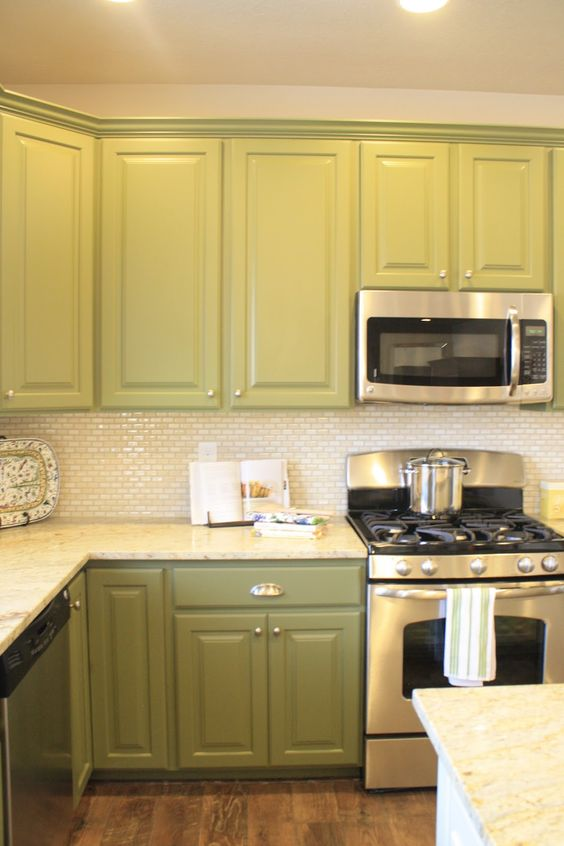 green cabinets & backsplash