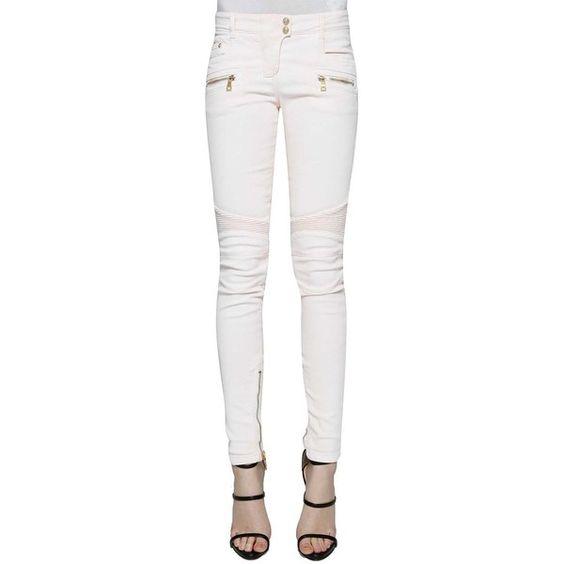 BALMAIN Denim biker jeans ($935) ❤ liked on Polyvore featuring jeans, balmain jeans, white denim jeans, white jeans, balmain and denim jeans