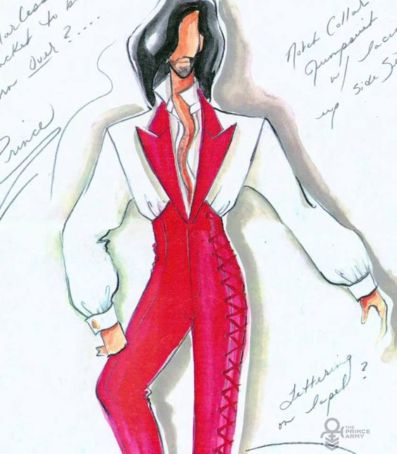 "Prince outfit design notes from designer, she was also responsible 4 making Prince's ""assless pants"" outfit vision into a reality."