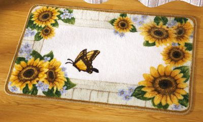 country sunflower bathroom floor rug | everything